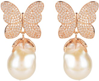 Rosegold Latelita White Butterfly Baroque Pearl Earring