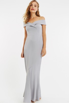 Oasis Pale Grey Bardot Slinky Maxi Dress