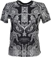 Alexander McQueen Pasley And Skull Printed Black Cotton T-shirt