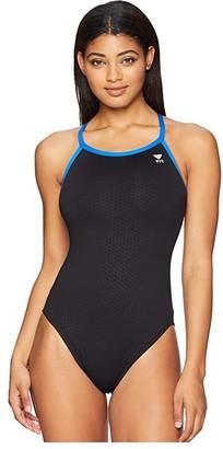 TYR Hexa Diamondfit One-Piece (Black/Blue) Women's Swimsuits One Piece