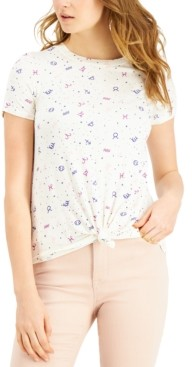 Self Esteem Juniors' Zodiac Printed Knot-Front T-Shirt