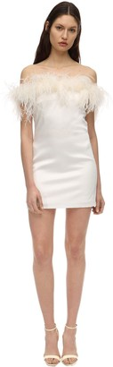 Saint Laurent Satin Mini Dress W/ Feathers