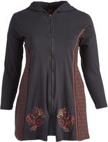Aller Simplement Black & Rust Swirl-Accent Zip-Up Hooded Jacket - Plus