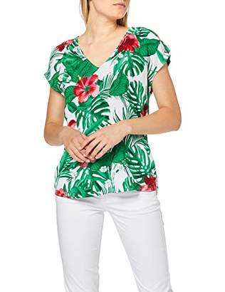 S'Oliver Women's 05.906.12.58 Blouse, White AOP Tropical A, 16 (Size: )