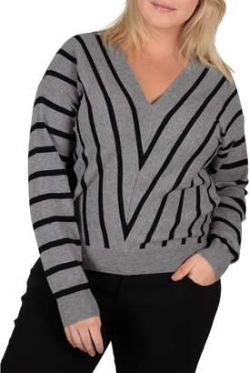 Gabrielle Plus Striped Long-Sleeve Sweater