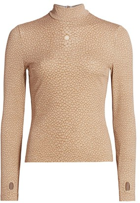 Burberry Fish-Print Mockneck Top