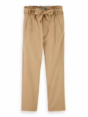 Scotch & Soda Girl's Relaxed Slim Fit Paper-Bag Waisted Pants with Bow Detail Shorts