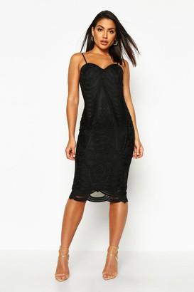 boohoo Boutique Mesh Panelled Strappy Midi Dress