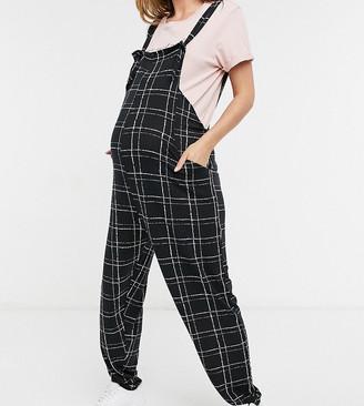 ASOS DESIGN maternity jersey dungaree in mono grid print