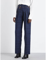 Victoria Beckham Grid-patterned High-rise Straight Wool Trousers
