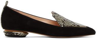 Nicholas Kirkwood Black Python Suede Beya 18 Loafers