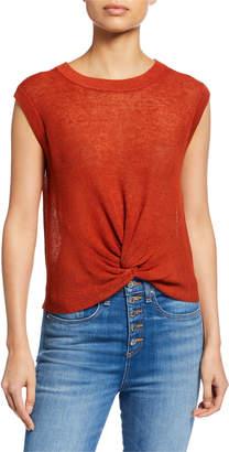 Veronica Beard Kellen Crewneck Cap-Sleeve Twist-Front Sweater