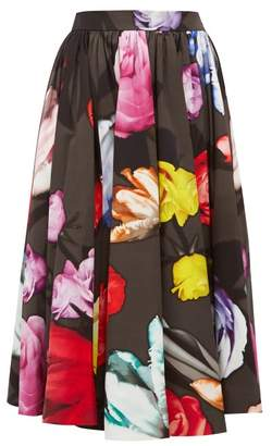 Prada Floral-print Cotton-poplin Skirt - Womens - Grey Multi