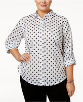 Karen Scott Plus Size Cotton Polka-Dot Shirt Only at Macy's