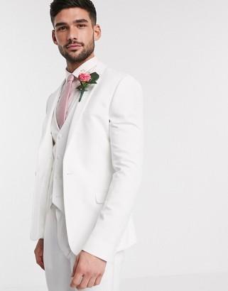 ASOS DESIGN wedding super skinny suit jacket in white