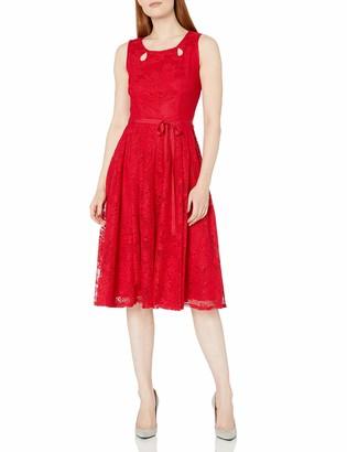 Gabby Skye Women's Sleeveless Round Neck Crochet Lace Fit and Flare Dress