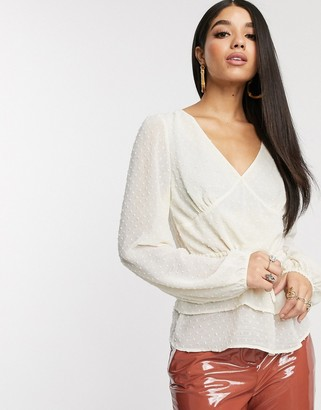 NA-KD flounce dotted blouse in light beige