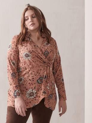Faux Wrap Floral Tunic Blouse - Addition Elle