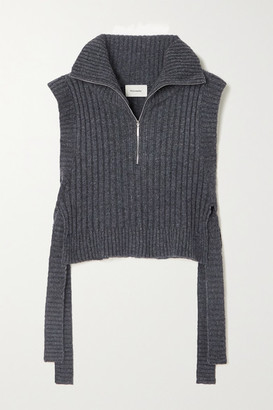 HOLZWEILER Hafjell Tie-detailed Ribbed Wool-blend Turtleneck Sweater - Gray