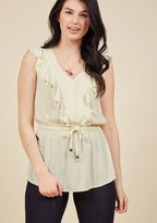 Ruffly and Ready to Go Sleeveless Top in Cream in XXS