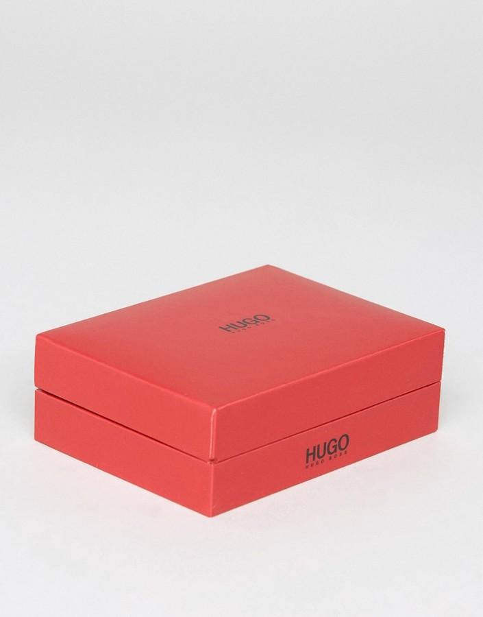 HUGO BOSS Boss By Leather Wrap Bracelet In Black/Blue