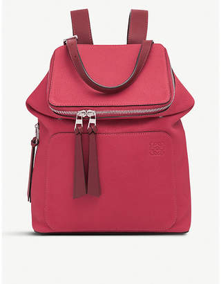 Loewe Scarlet and Brick Red Goya Small Leather Backpack