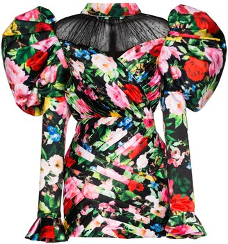 Richard Quinn Floral Print Puff-Sleeve Dress