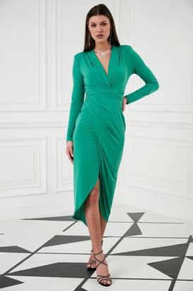 Jenerique Wrap Midi Dress with Front Slit n Green colour