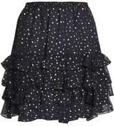 Just Cavalli Layered Metallic-Print Silk Mini Skirt