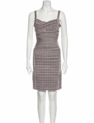 Herve Leger Plaid Print Mini Dress Grey