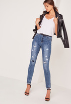 Missguided High Waisted Ripped Paint Splatter Skinny Jeans Blue