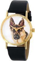 Whimsical Watches Kids' P0130040 Classic German Shepherd Black Leather And Goldtone Photo Watch