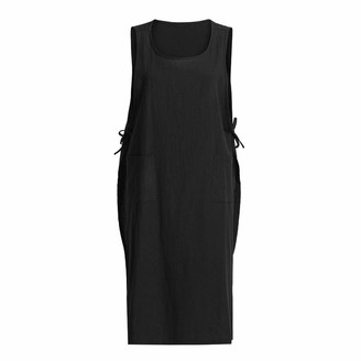 TEELONG Womens/Girls Summer Dress Casual Apron with Pockets Dress Japanese Style Pinafore Dress Cotton Tunic Dress Black