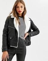 Lab Leather oversized biker jacket with faux fur internal