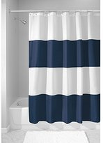 """InterDesign Mildew-Free Water-Repellent Zeno Shower Curtain, 72 by 72"""", Navy/White"""