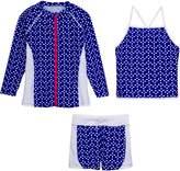 SwimZip Girls Long Sleeve Rash Guard Swim Shorts Set with UPF 50+ Navy 10-12