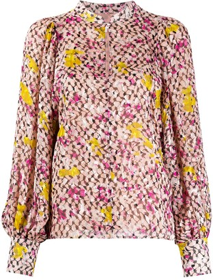 Lala Berlin Keyhole Neck Floral Print Blouse