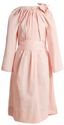 Maison Rabih Kayrouz Tie-neck Gathered Paper-taffeta Dress - Womens - Light Pink