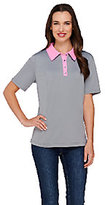 As Is Denim & Co. Active Polo Shirt with Contrast Trim