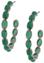 "Emily and Ashley Sterling 1-1/2"" Gemstone Cabochon Hoop Earrings"