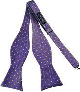 Pense'e PenSee Mens Self Bow Tie Purple Yellow Dots Jacquard Woven Silk Bow Ties