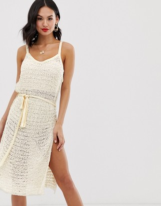 Free People Bottom of the Sea crochet knit tunic vest-White