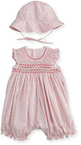 Luli & Me Sleeveless Floral Bubble Romper w/ Sun Hat, Pink, Size 3-24 Months