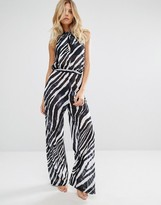 L'Agent by Agent Provocateur Zebra Print Beach Jumpsuit