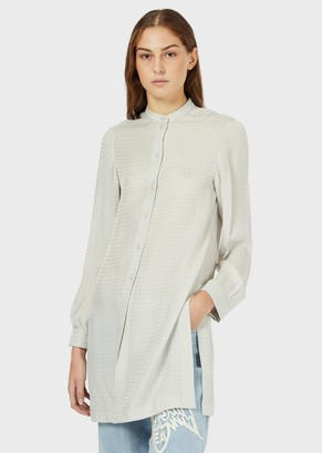 Emporio Armani Jacquard Silk-Blend Maxi Blouse With Guru Collar