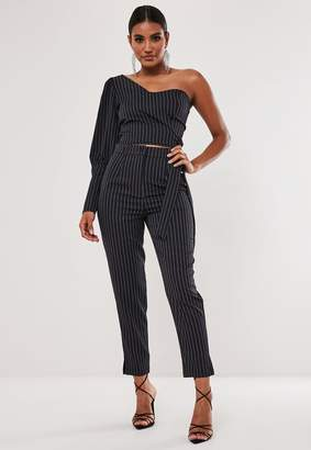 Missguided Navy Pinstripe Co Ord Cigarette Trousers