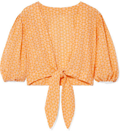 Lisa Marie Fernandez Cropped Broderie Anglaise Cotton Top - Pastel orange