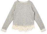 Lucky Brand Gray Heather Metallic Popover - Girls