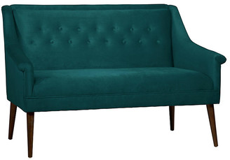 One Kings Lane Bella Settee - Peacock Velvet - frame, espresso; upholstery, peacock