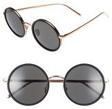 Linda Farrow Women's 52Mm Round 18 Karat Rose Gold Trim Sunglasses - Black Aluminum/ Gold/ Grey